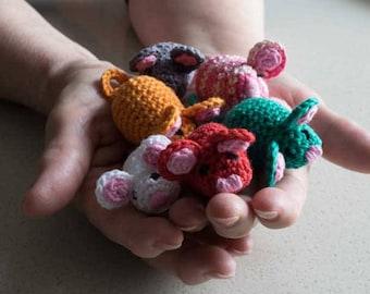 Miniature mice, amigurmi mouse, crochet mice, mice toys, pet toys, cat toys