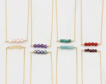 Gemstone Bar Necklace · Birthstone Necklace · Bead Bar Necklace · Gold Dainty Gemstone Necklace · Beaded Necklace · 14k Gold Filled · Silver