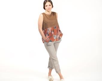 Sleeveless linen and silk top / linen halter top / linen clothing / organic clothing / summer / floral