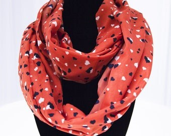 Orange Infinity Scarf with Navy and White Hearts