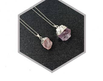 Long silver gemstone pendant necklace rough rose quartz or amethyst mineral, Emma et moi jewellery