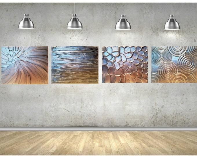 Set of 4 Metallic Silver Impasto Painting with Palette Knife and Brush Large stretched canvas