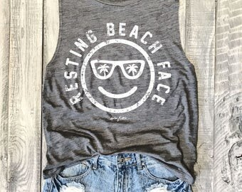 RESTING BEACH FACE....Funny Muscle Tee in Asphalt Workout Top, **Runs Small**Muscle Tank, Vacation, vacay, Honeymoon, Yoga Vest, Funny Graph