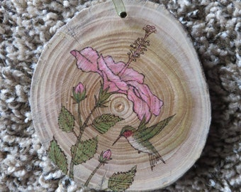 Ruby-Throated Hummingbird with Pink Hibiscus Woodburned Ornament