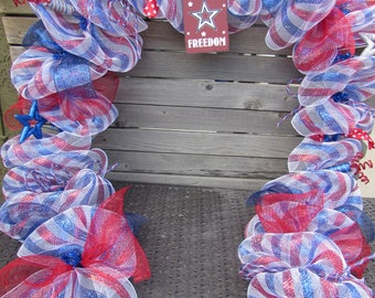 10' Fourth Of July Garland Patriotic Deco Mesh Garland Red White Blue Garland Stars and Stripes Door Decor Freedom Deco Mesh Garland