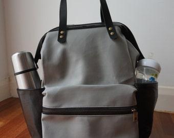 sale 15 black diaper bag backpack black leather. Black Bedroom Furniture Sets. Home Design Ideas