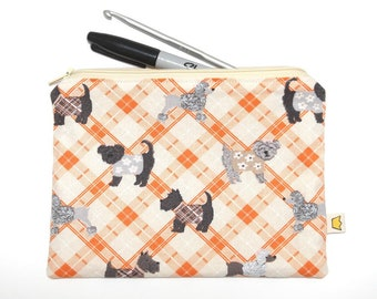 Dog pencil case, orange tartan puppy zipper pouch, cosmetic pouch