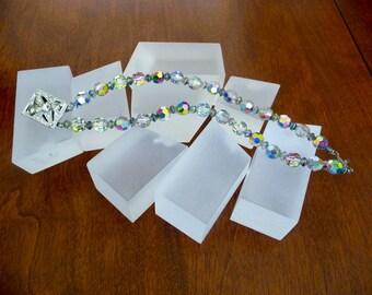 Vintage Crystal Double Strand Bracelet/Crystal Double Strand Bracelet/Double Strand AB Crystal Bracelet w Art Deco Clasp/Crystal Bracelet