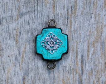Soldered Turquoise Cross with Filagree