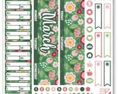 MAR Monthly View Green Floral Planner Stickers for Erin Condren Planner