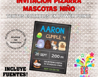INVITATION pet child type slate Birthday Chalkboard Invitation - editable texts - instant download