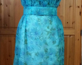 Vintage pixie of california blue 1950s 1960s summer spring wiggle dress
