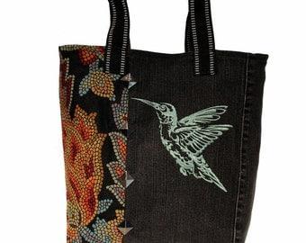 Tote Bag- Hummingbird -   Repurposed denim tote bag with embroidery