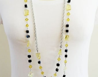 Long Yellow Beaded Necklace, Long Black Necklace, Beaded Necklace, Yellow Boho Necklace, Flapper Necklace, Vintage Necklace, Two  Strand