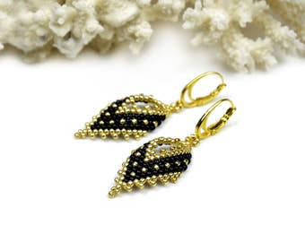 Black gold earrings birthday gifts for wife beaded dangle earrings large earrings seed bead earrings for women beadwork jewelry gift for mom