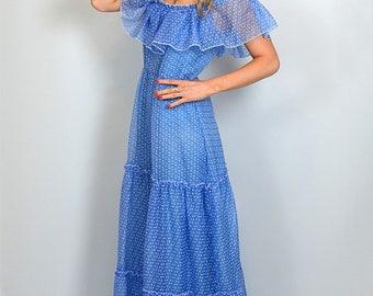 Vintage 70s Ruffle Tiered Blue Hippy Festival Maxi Dress