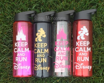 Keep Calm And Run Disney Personalized Water Bottle  W24KCRD