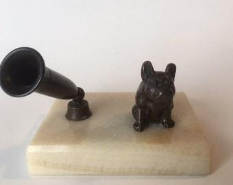 Vintage Bronze French Bulldog Pen Holder with Marble Base French Bull Dog