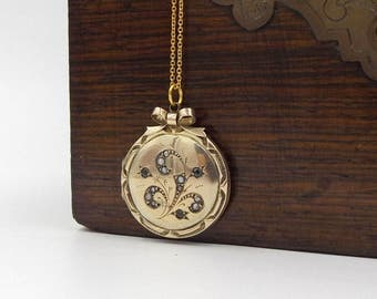 9K Gold Victorian Locket Necklace | 9ct Gold Back And Front Round Seed Pearl & Paste Stone Set Antique Bow Photo Locket Pendant