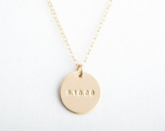 "5/8"" Round Disc Necklace, 16mm, Date Disc, Initials + Date, Gold Filled, Sterling Silver, Rose Gold Filled"
