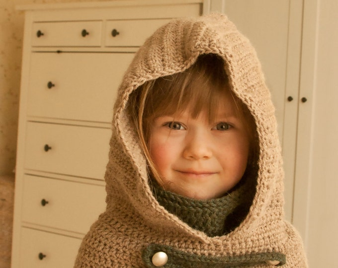 CROCHET PATTERN hooded cowl Cole with inner cowl and straps (baby, toddler, child and adult sizes)