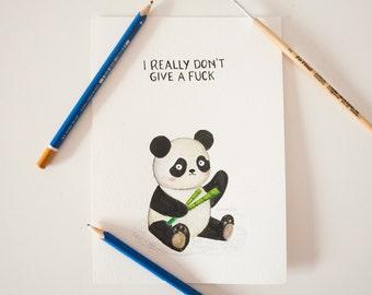 Funny Sad Panda Original Watercolor Painting - Inktober