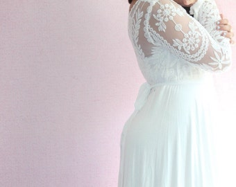 Bohemian wedding dress boho shabby chic maternity gown photography long sleeve dress  - the bohemia gown