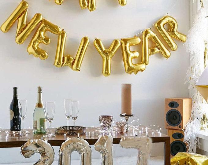 Happy New Year Balloon, New Years Eve Decorations, New Years Eve banner, 2017 Balloons, Happy New Year Balloons