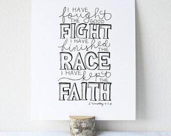 2 Timothy 4:7-8 Printable Bible Verse Art Print 8x10 Digital Wall Art Gift