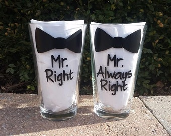 Mr. Right Mr. Always Right  handpainted pint glass set /gay wedding beer glasses /gay couple glasses/gay engagement glasses