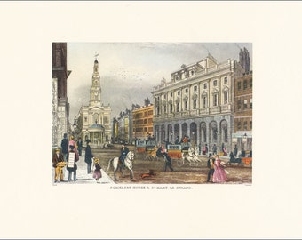 Somerset House and St Mary Le Strand Victorian London vintage print coloured engraving 7 x 9.25 inches