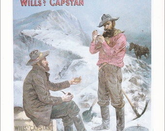 vintage cigarette advert ad smoking tobacco Klondyke gold rush Wills's capstan navy cut gift for him home decor print 8.5 x 11.5 in