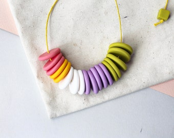 Clourful Polymer Clay Necklace - Polymer Clay Jewelry - Beads Clay Necklace - Minimalist Necklace - Summer Jewellery - Vibrant Necklace