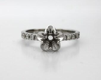 14K White Gold Tulip Engagement Ring Diamond Semi Mount! Set your Diamond, Gemstone, Moissanite. La Tulipe USA Made
