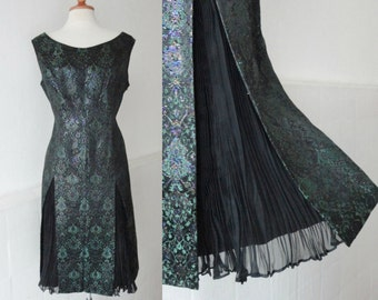 Lovely 60s Vintage Brocade Dress And Chiffon Shiffon Pleats  // Green with Purple Shimmer