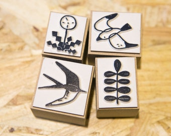 Bird and plant rubber stamp set
