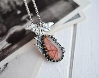 Rose Labradorite Floral Necklace Pendant Sterling Silver Daisy