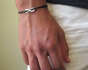 Infinity Bracelet For Men - Friendship Bracelet - Cord Bracelet - Mens Bracelet -  eternity bracelet - friend bracelet - anniversary gift