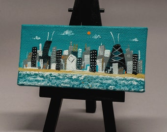"chicago skyline, mini painting with  easel, 2x4 canvas, teal sky,  ooak, ready to ship, hand painted by Joe Smigielski, ""City on the Shore"""
