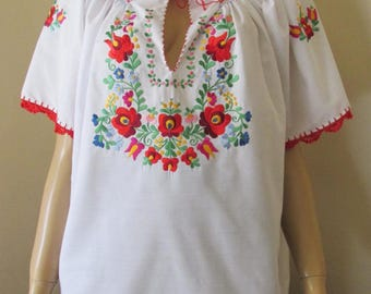 Hand embroidered Hungarian Matyo Kalocsa blouse ethnic top , handmade Hungarian folk blouse , ethnic European blouse  L-XL