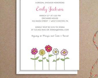 Bridal Shower Invitations - Zinnia Shower Invitations - Party Invitations - Bridal Invitations - Custom Invitations