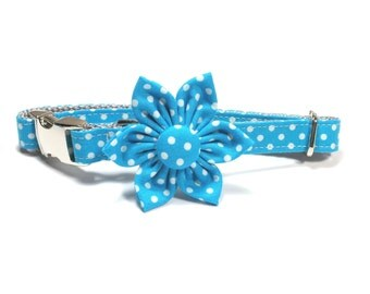 Turquoise Dots Flower for Dog collar, Cat collar, collar flower, pet collar flower, wedding flower, flowers for dog collars