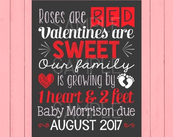 Valentine's Day Pregnancy Announcement Chalkboard | Roses Are Red | Valentines Are Sweet | One Heart & Two Feet | Silver | *DIGITAL FILE*