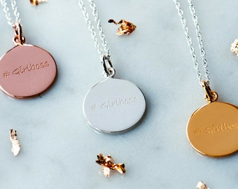 Girlboss Engraved Necklace, Personalised Jewelry, Gift for her, Sterling Silver 925, Inspiration Necklace, Motivation necklace, #girlboss