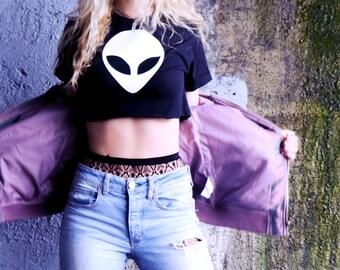Alien Crop Top • Rave Crop Top • Tumblr Crop • Rave Clothes • Music Festival Clothing • Alien Shirt « g500black «« (crew, tee/sc) «