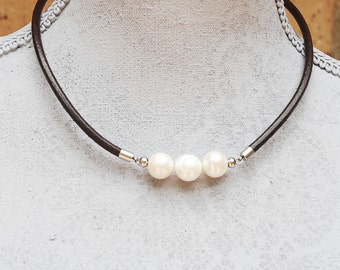 Coffee Brown leather cord necklace with white 12-13mm freshwater pearls on stainless steel
