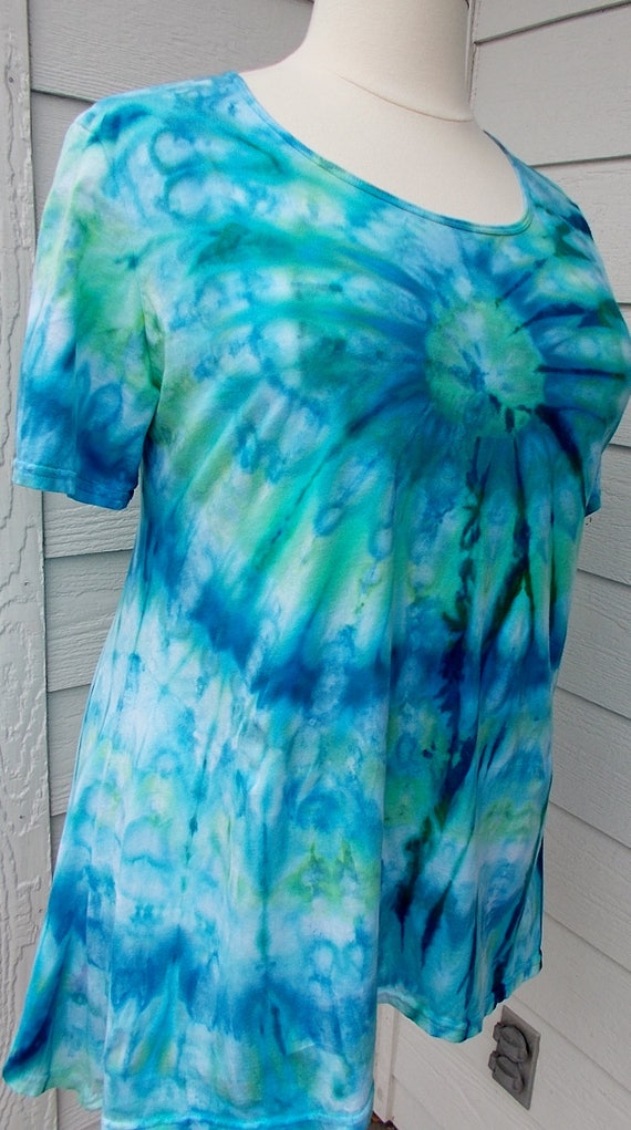 Women's  Short Sleeve Hanky-hem Ice dye tie dye Cotton Shirt
