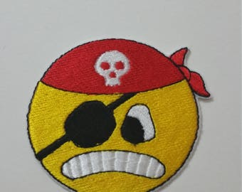 Pirate face emoji iron on or sew on patch 6 c x 7 cm ( 2.36'' x 2.76'') emoji pirate patch Pirate patch Pirate applique Emoticon patch