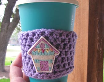 Beach Shack Cup Cozy, Crochet Sleeve, Drink Holder, Hot or Cold Beverage, Summer, Birthday Gift, Party Favor, Gift Exchange, Grab Bag,