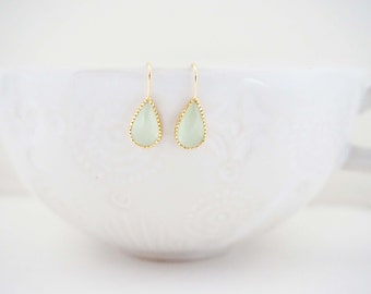 Mint and Gold Gem Teardrop Earrings, Bridesmaid Earrings, Wedding Earrings